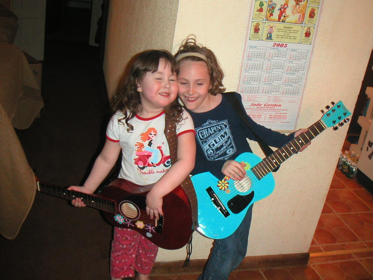 Abi and my little sister Nic with their guitars!
