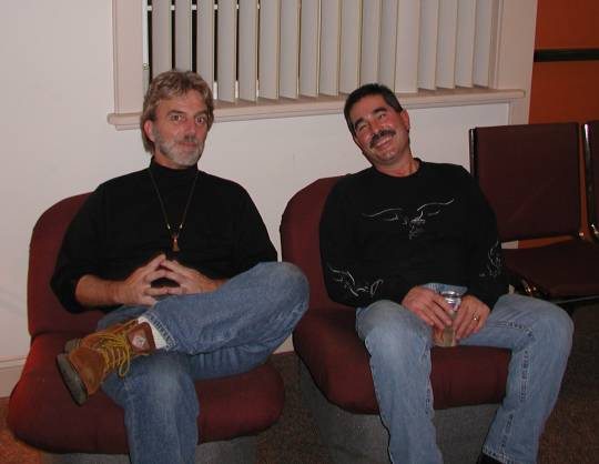 Me and Greg resting during a Christmas party were we played with Aztec Two Step