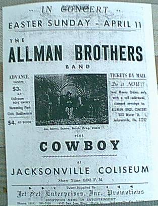 this is a copy a friend,Brother Don Bacon sent me years ago ..of a JAX show on April 11,1969, he grew up with the Truck's boys playing corkball with them,,,,