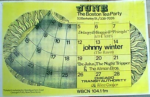 heres a copy of a poster of the first time the ABB played at the Tea Party( opening for Dr John ), a old hangout of mine....sent to me several years from my dear friend,Lana ;)