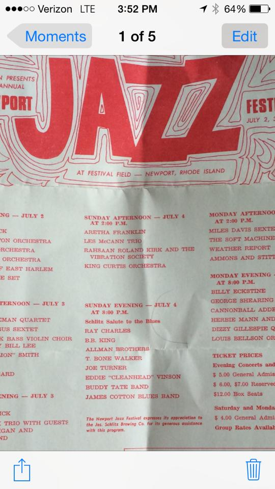 A old Newport Jazz Handout on the ABB playing in Newport RI..which got cancelled.... I found it cleaning out the Family Estate...it been in a box of Rolling Stone's for over 40 years... and I have more old stuff I found haha